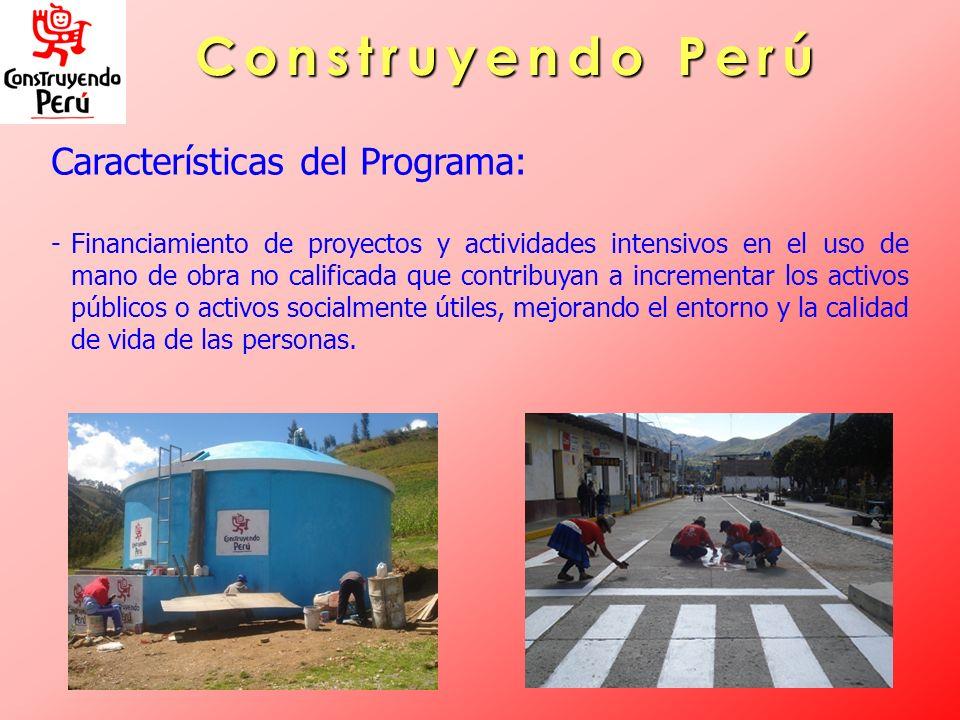 Construyendo Perú Características del Programa: -Financiamiento de proyectos y actividades intensivos en el uso de mano de obra no calificada que cont