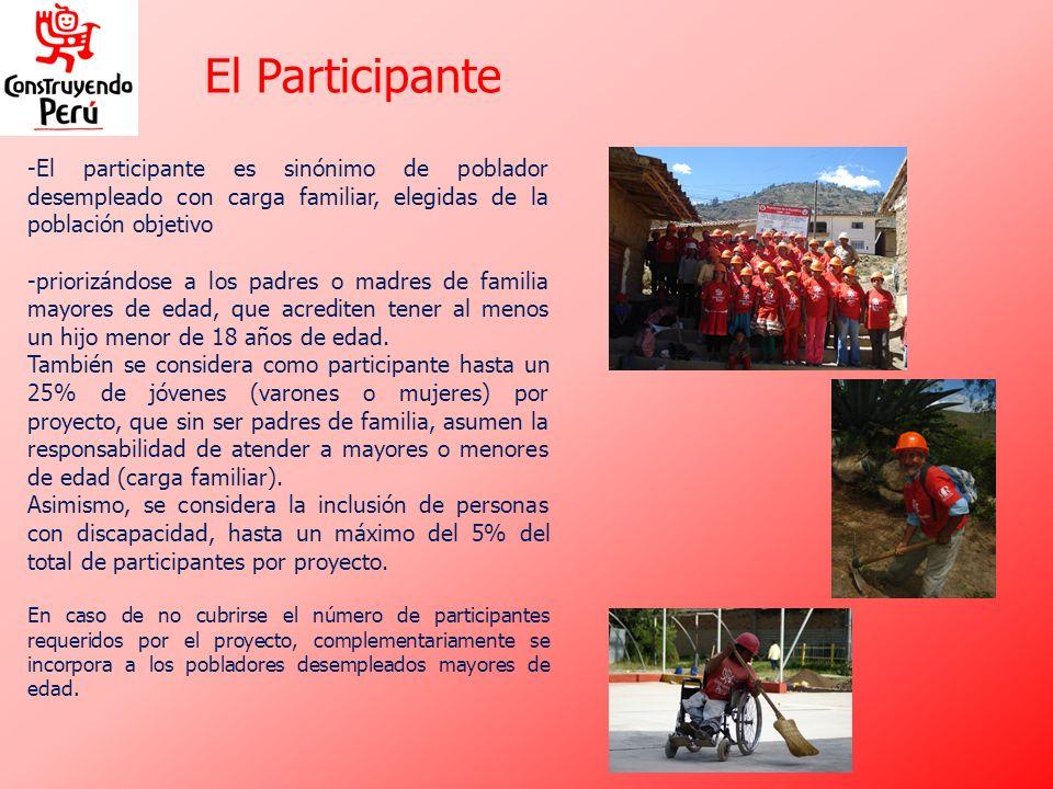 -El participante es sinónimo de poblador desempleado con carga familiar, elegidas de la población objetivo -priorizándose a los padres o madres de fam
