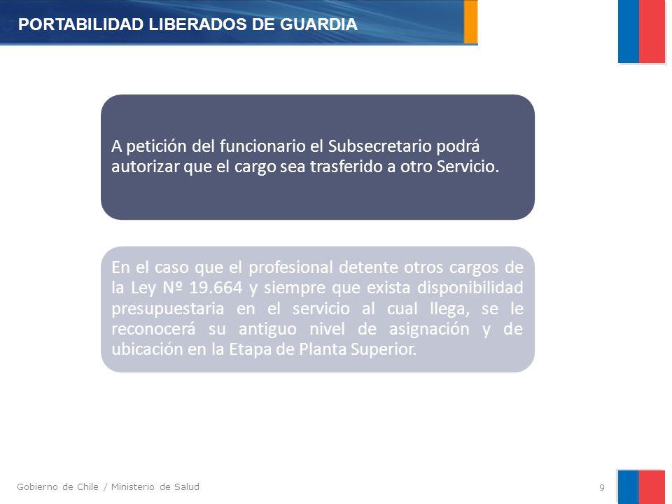 Gobierno de Chile / Ministerio de Salud A petición del funcionario el Subsecretario podrá autorizar que el cargo sea trasferido a otro Servicio.