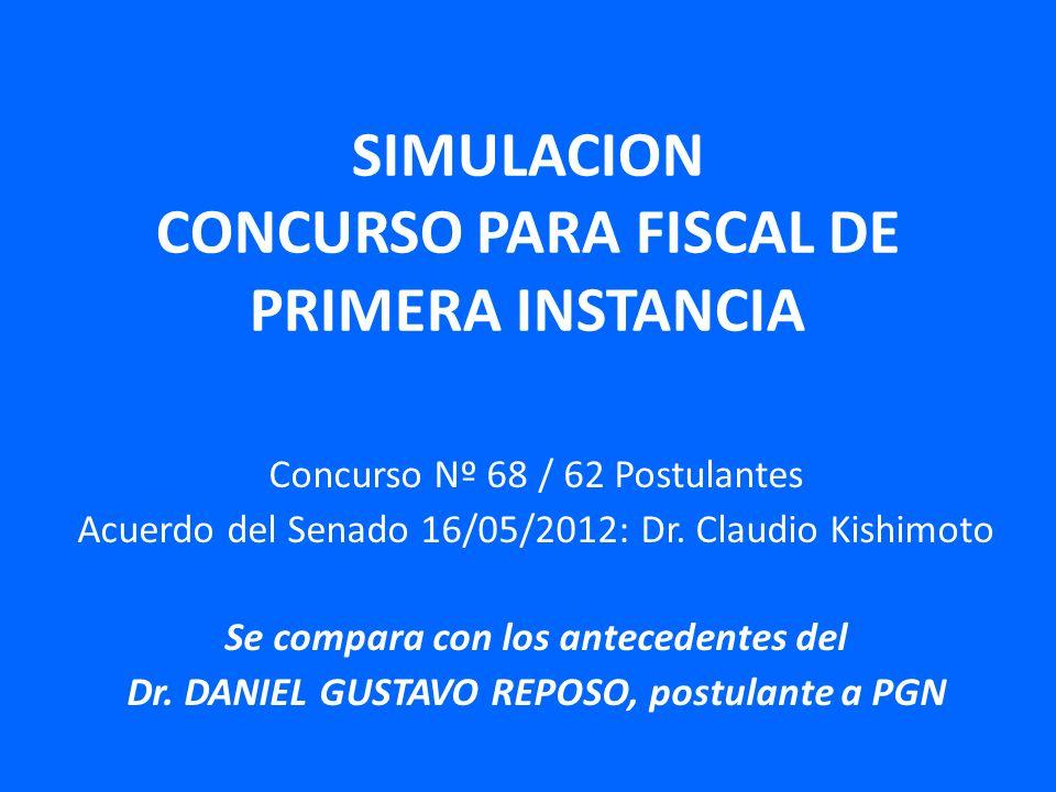 SIMULACION CONCURSO PARA FISCAL DE PRIMERA INSTANCIA Concurso Nº 68 / 62 Postulantes Acuerdo del Senado 16/05/2012: Dr.