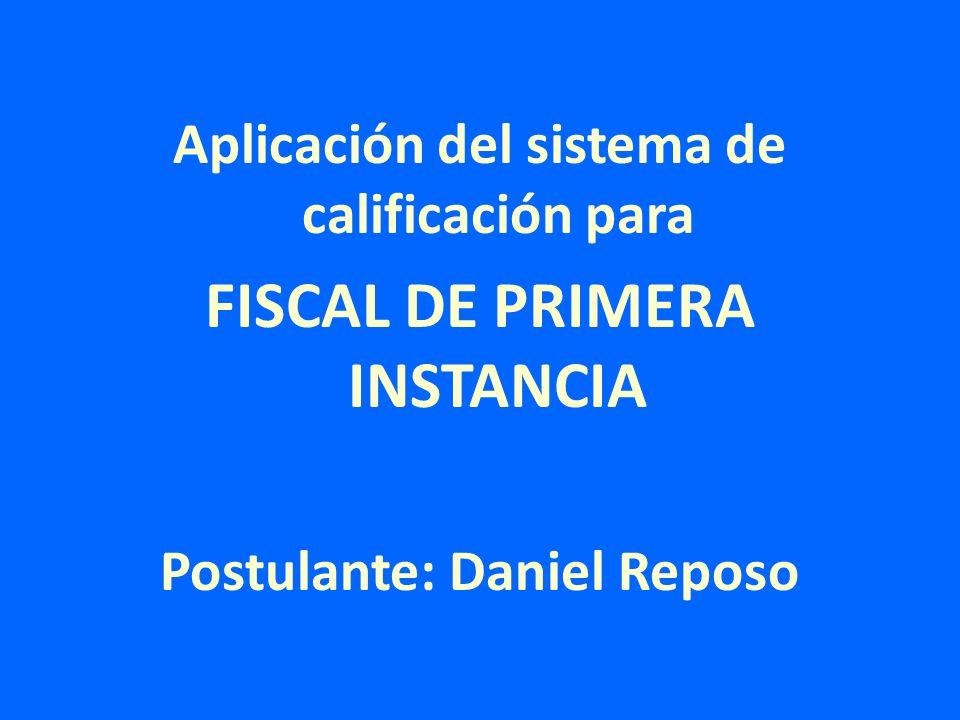 Aplicación del sistema de calificación para FISCAL DE PRIMERA INSTANCIA Postulante: Daniel Reposo