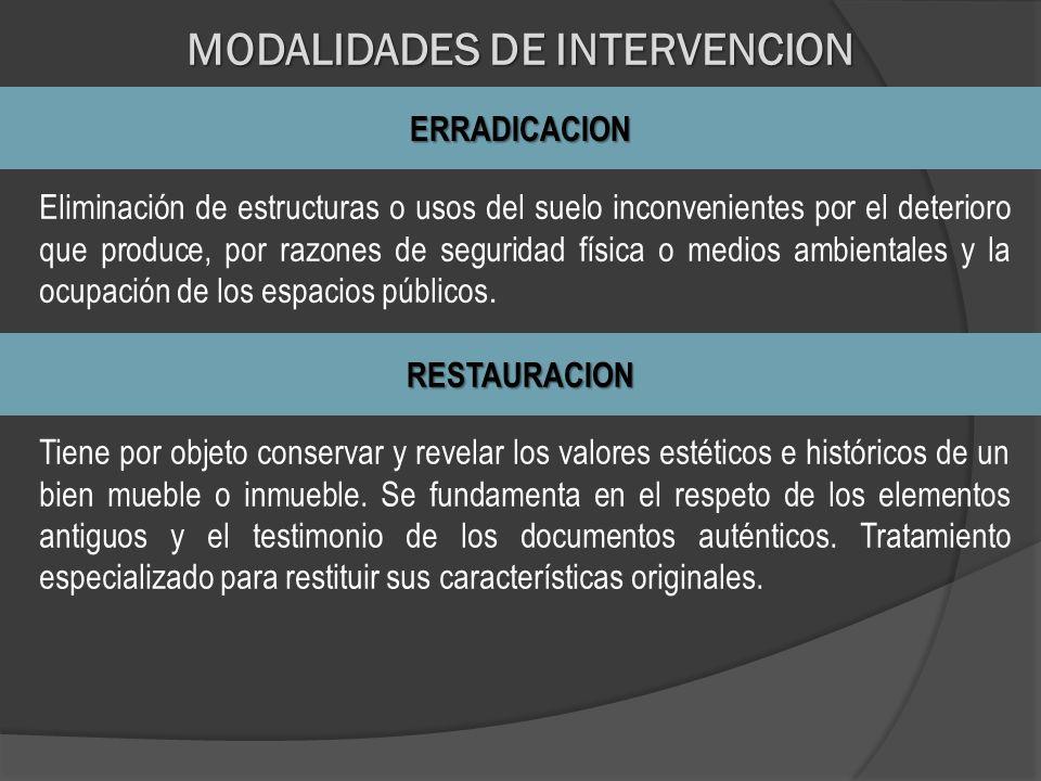 MODALIDADES DE INTERVENCION ERRADICACION Eliminación de estructuras o usos del suelo inconvenientes por el deterioro que produce, por razones de segur