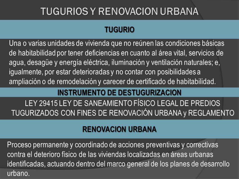 TUGURIOS Y RENOVACION URBANA TUGURIO Una o varias unidades de vivienda que no reúnen las condiciones básicas de habitabilidad por tener deficiencias e