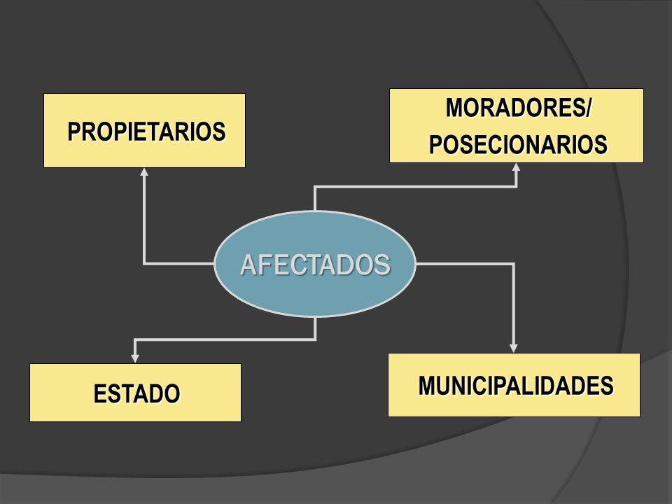 PROPIETARIOS MORADORES/POSECIONARIOS MUNICIPALIDADES ESTADO AFECTADOS