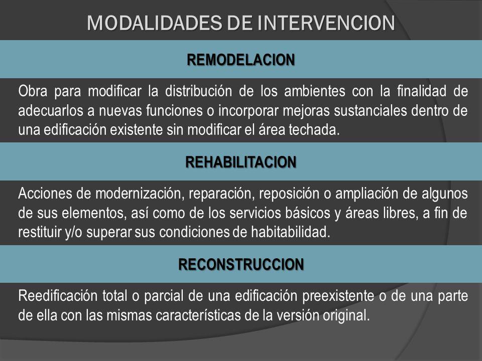 MODALIDADES DE INTERVENCION REMODELACION Obra para modificar la distribución de los ambientes con la finalidad de adecuarlos a nuevas funciones o inco