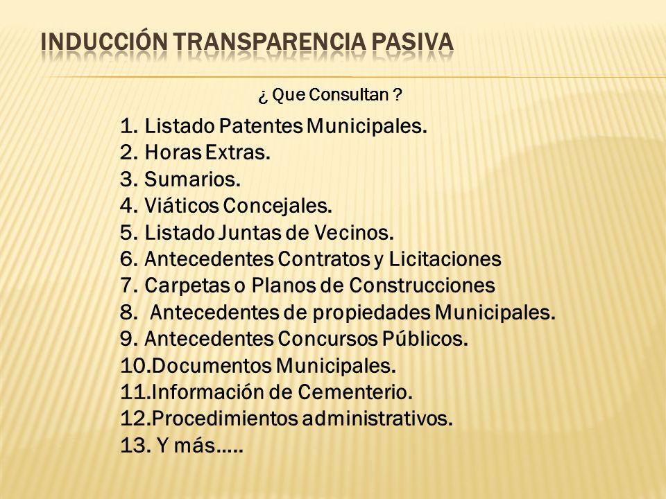 ¿ Que Consultan . 1.Listado Patentes Municipales.