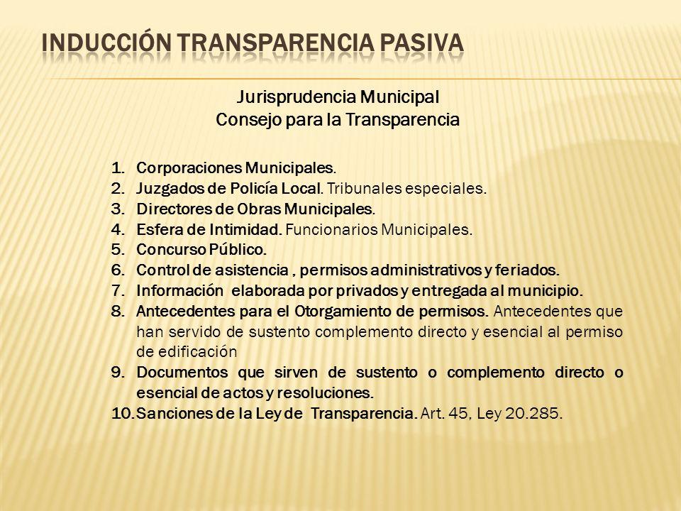 Jurisprudencia Municipal Consejo para la Transparencia 1.Corporaciones Municipales.