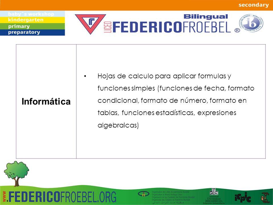 Informática Hojas de calculo para aplicar formulas y funciones simples (funciones de fecha, formato condicional, formato de número, formato en tablas,