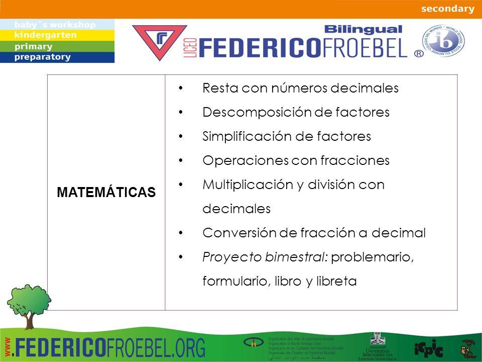 MATEMÁTICAS Resta con números decimales Descomposición de factores Simplificación de factores Operaciones con fracciones Multiplicación y división con