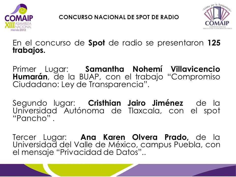 En el concurso de Spot de radio se presentaron 125 trabajos. Primer Lugar: Samantha Nohemí Villavicencio Humarán, de la BUAP, con el trabajo Compromis