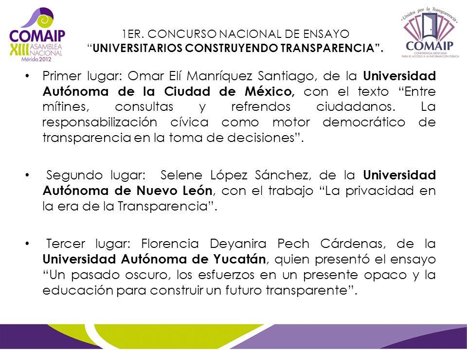 Primer lugar: Omar Elí Manríquez Santiago, de la Universidad Autónoma de la Ciudad de México, con el texto Entre mítines, consultas y refrendos ciudad