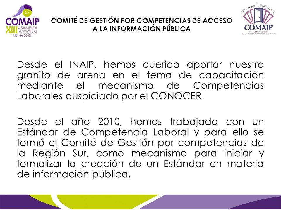 Desde el INAIP, hemos querido aportar nuestro granito de arena en el tema de capacitación mediante el mecanismo de Competencias Laborales auspiciado por el CONOCER.