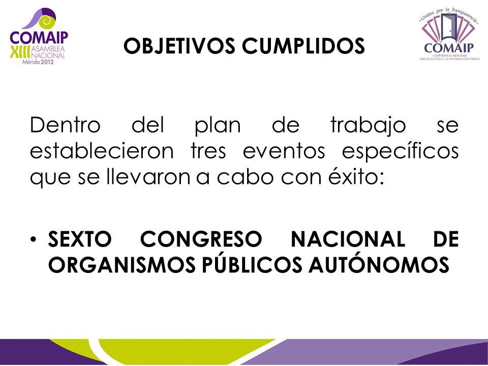 OBJETIVOS CUMPLIDOS Dentro del plan de trabajo se establecieron tres eventos específicos que se llevaron a cabo con éxito: SEXTO CONGRESO NACIONAL DE ORGANISMOS PÚBLICOS AUTÓNOMOS