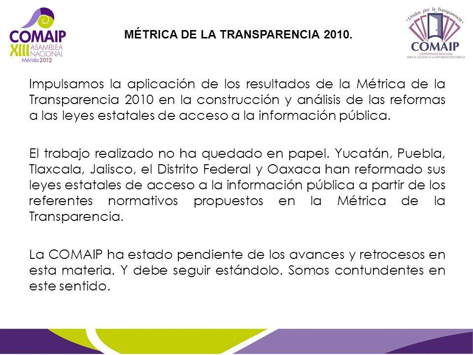 Impulsamos la aplicación de los resultados de la Métrica de la Transparencia 2010 en la construcción y análisis de las reformas a las leyes estatales de acceso a la información pública.