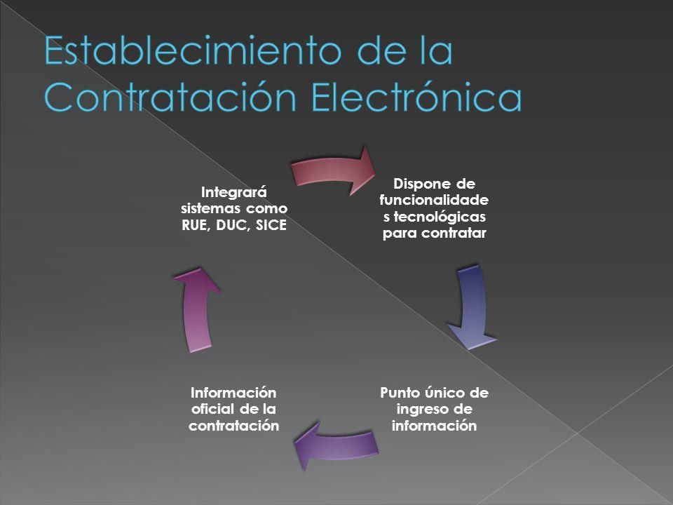 Dispone de funcionalidade s tecnológicas para contratar Punto único de ingreso de información Información oficial de la contratación Integrará sistema