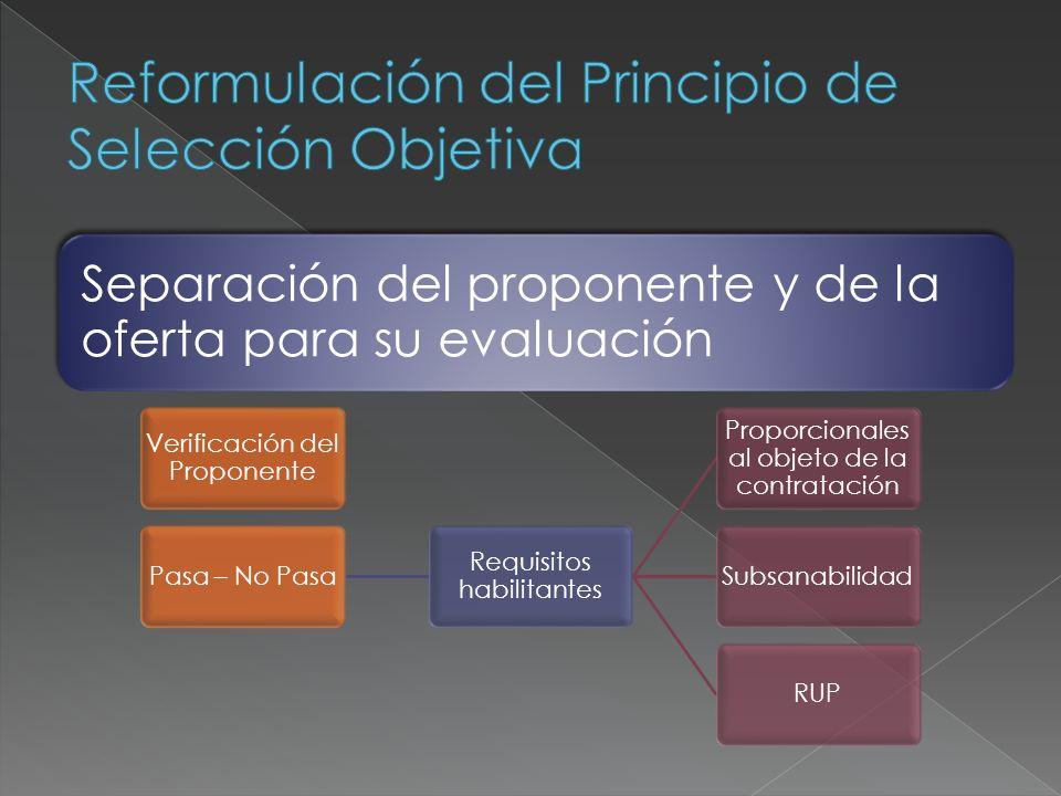Separación del proponente y de la oferta para su evaluación Verificación del Proponente Pasa – No Pasa Requisitos habilitantes Proporcionales al objet