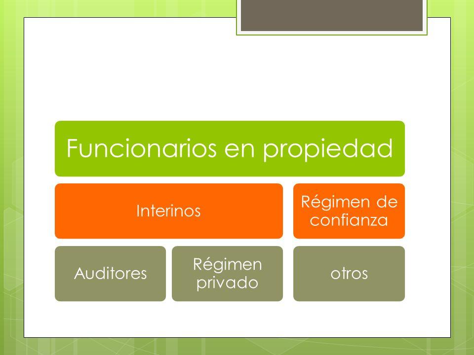 Funcionarios en propiedad InterinosAuditores Régimen privado Régimen de confianza otros