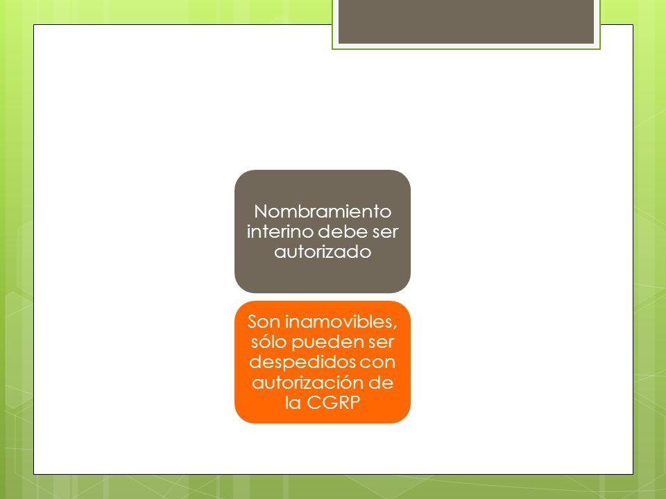 Nombramiento interino debe ser autorizado Son inamovibles, sólo pueden ser despedidos con autorización de la CGRP