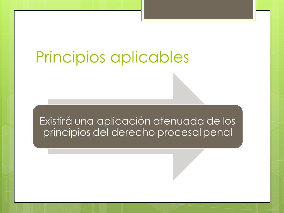 Principios aplicables Existirá una aplicación atenuada de los principios del derecho procesal penal