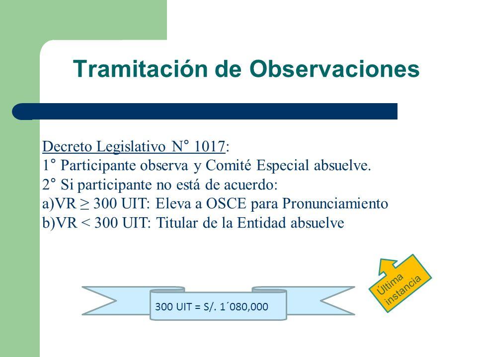 Tramitación de Observaciones Decreto Legislativo N° 1017: 1° Participante observa y Comité Especial absuelve. 2° Si participante no está de acuerdo: a