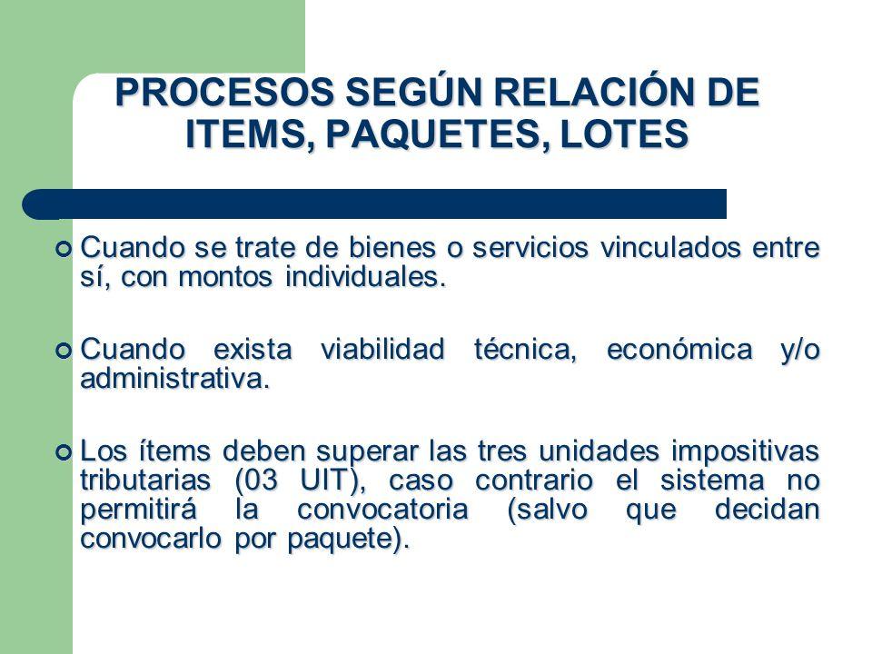PROCESOS SEGÚN RELACIÓN DE ITEMS, PAQUETES, LOTES.