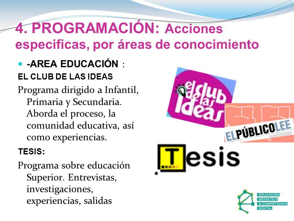 4. PROGRAMACIÓN: Acciones especificas, por áreas de conocimiento -AREA EDUCACIÓN : EL CLUB DE LAS IDEAS Programa dirigido a Infantil, Primaria y Secun