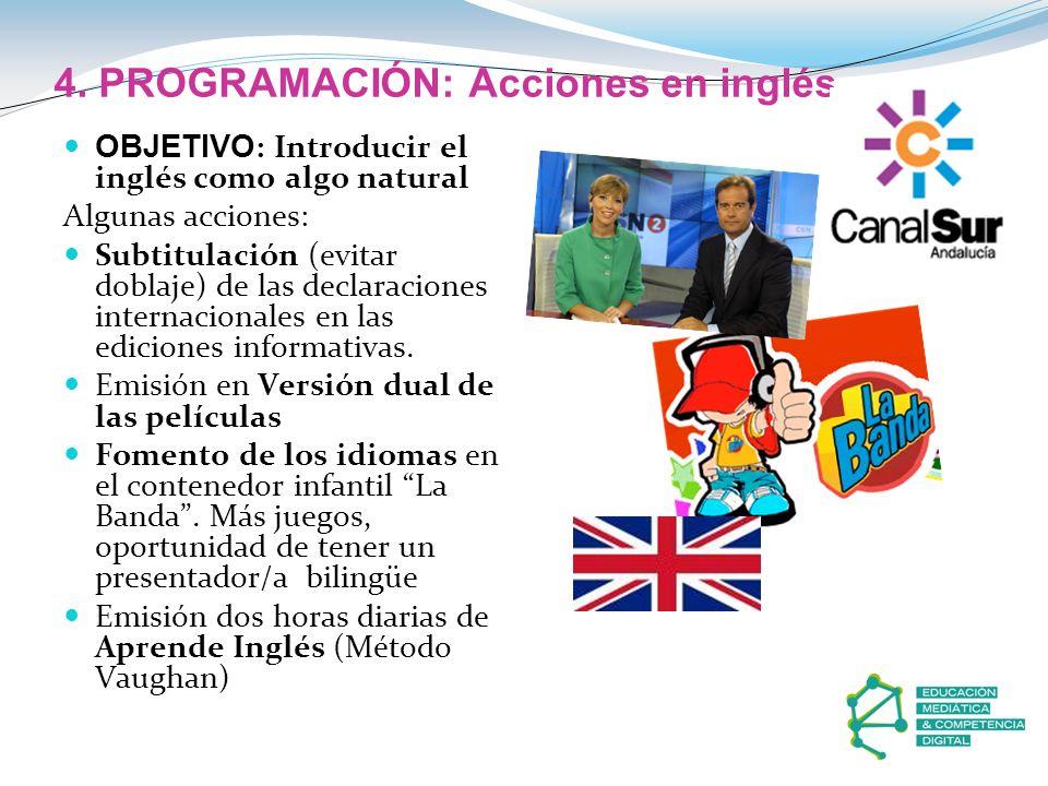 4. PROGRAMACIÓN: Acciones en inglés OBJETIVO : Introducir el inglés como algo natural Algunas acciones: Subtitulación (evitar doblaje) de las declarac