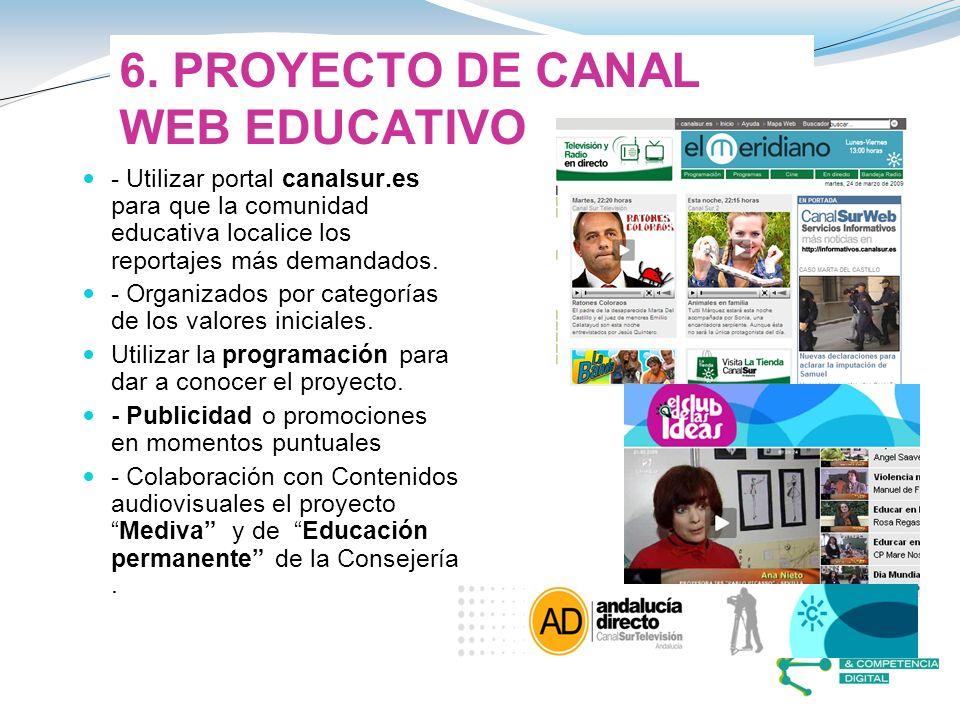 6. PROYECTO DE CANAL WEB EDUCATIVO - Utilizar portal canalsur.es para que la comunidad educativa localice los reportajes más demandados. - Organizados