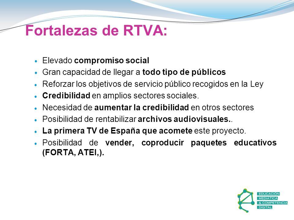 Fortalezas de RTVA: Elevado compromiso social Gran capacidad de llegar a todo tipo de públicos Reforzar los objetivos de servicio público recogidos en