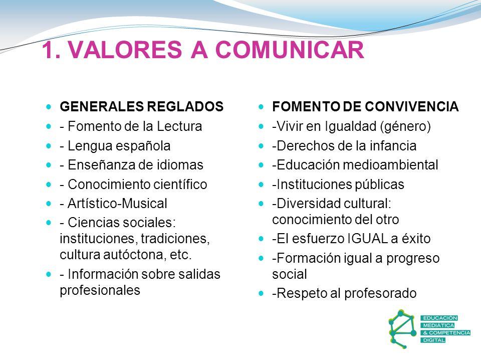 1. VALORES A COMUNICAR GENERALES REGLADOS - Fomento de la Lectura - Lengua española - Enseñanza de idiomas - Conocimiento científico - Artístico-Music