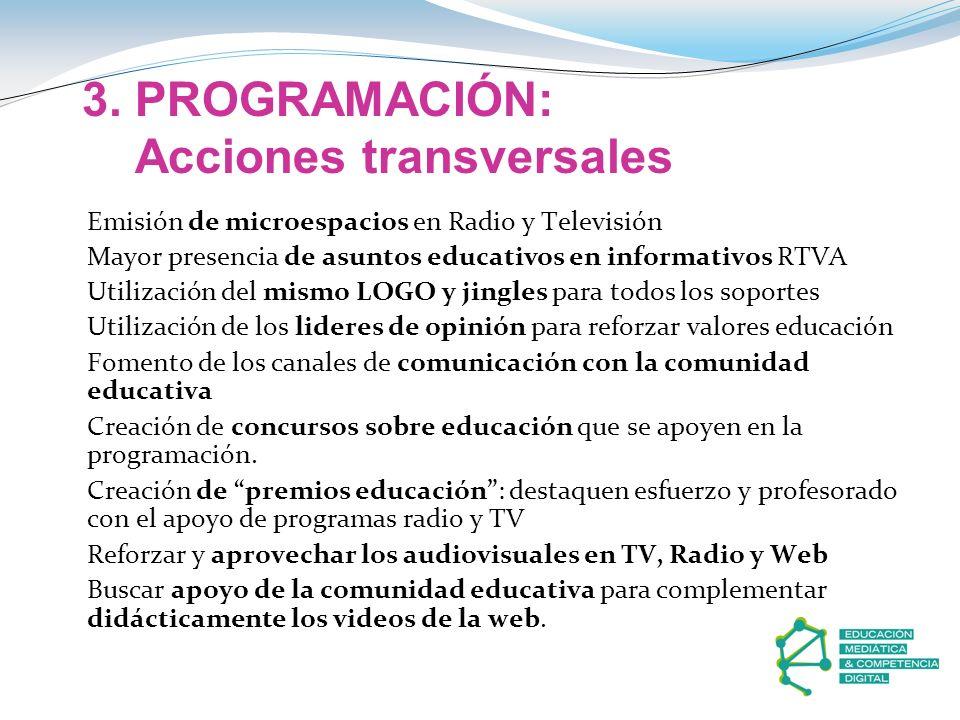 3. PROGRAMACIÓN: Acciones transversales Emisión de microespacios en Radio y Televisión Mayor presencia de asuntos educativos en informativos RTVA Util