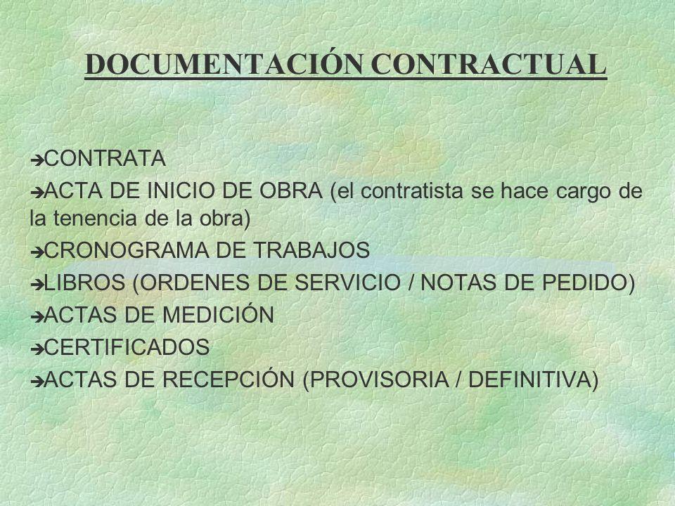 DOCUMENTACIÓN CONTRACTUAL è CONTRATA è ACTA DE INICIO DE OBRA (el contratista se hace cargo de la tenencia de la obra) è CRONOGRAMA DE TRABAJOS è LIBR