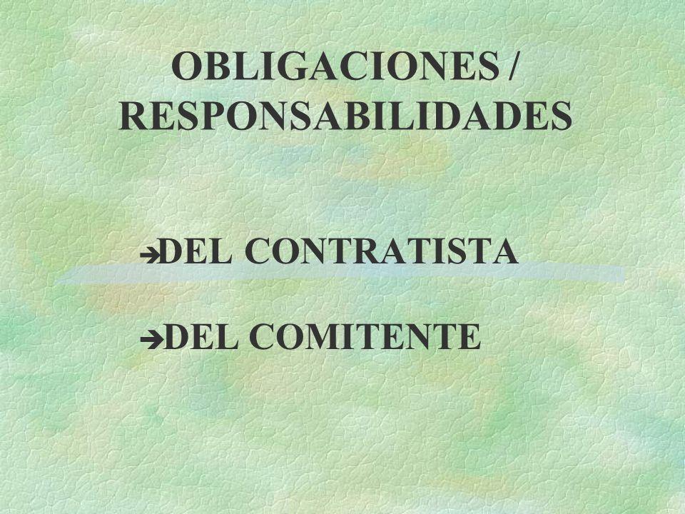 OBLIGACIONES / RESPONSABILIDADES DEL CONTRATISTA DEL COMITENTE