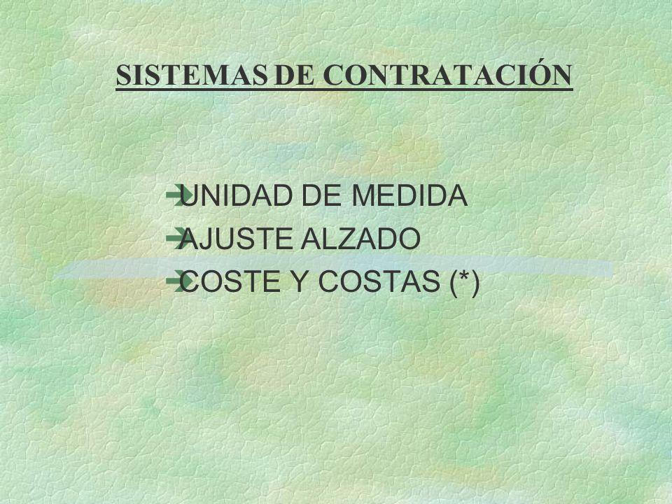 SISTEMAS DE CONTRATACIÓN èUNIDAD DE MEDIDA èAJUSTE ALZADO èCOSTE Y COSTAS (*)
