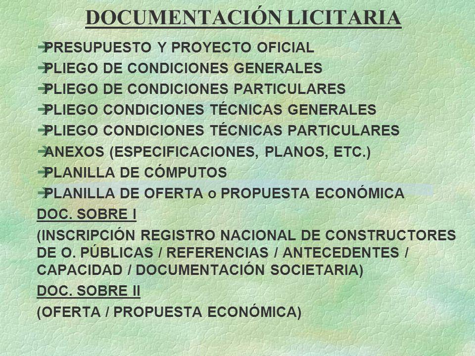 DOCUMENTACIÓN LICITARIA èPRESUPUESTO Y PROYECTO OFICIAL èPLIEGO DE CONDICIONES GENERALES èPLIEGO DE CONDICIONES PARTICULARES èPLIEGO CONDICIONES TÉCNI