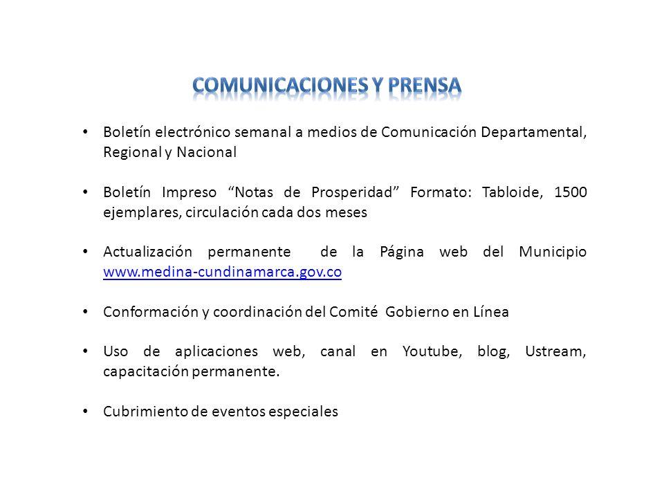 Boletín electrónico semanal a medios de Comunicación Departamental, Regional y Nacional Boletín Impreso Notas de Prosperidad Formato: Tabloide, 1500 e