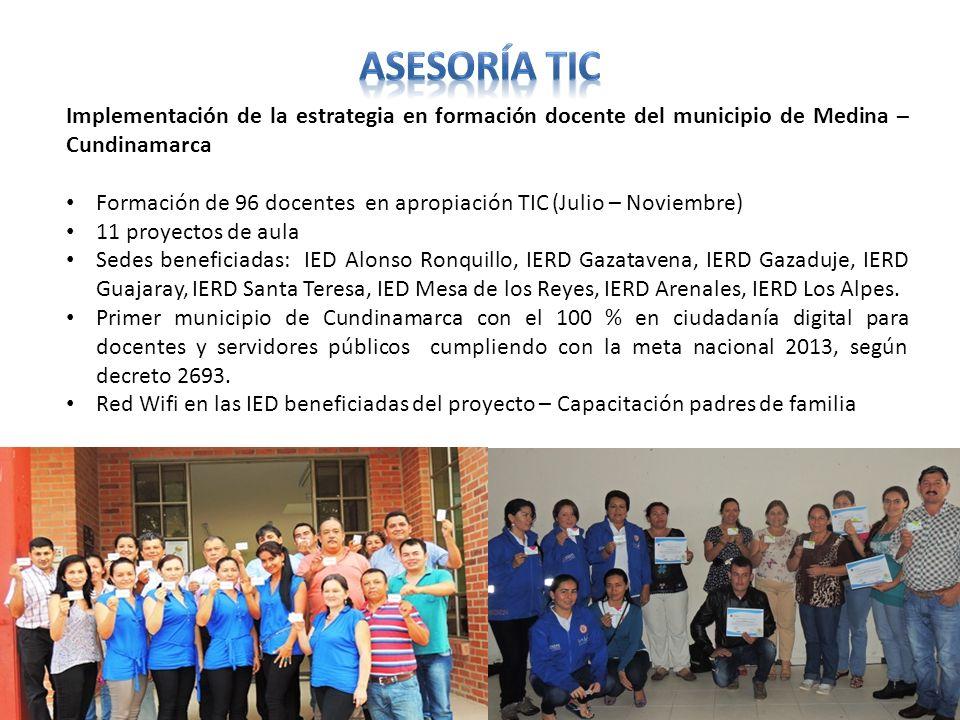 Implementación de la estrategia en formación docente del municipio de Medina – Cundinamarca Formación de 96 docentes en apropiación TIC (Julio – Novie