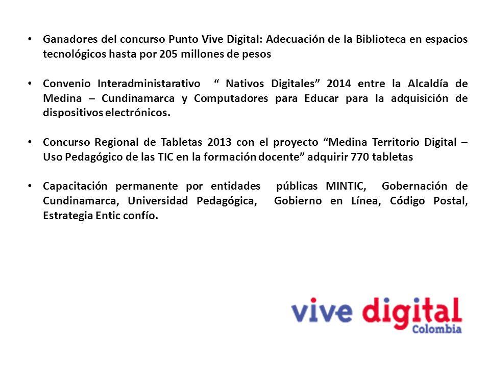 Ganadores del concurso Punto Vive Digital: Adecuación de la Biblioteca en espacios tecnológicos hasta por 205 millones de pesos Convenio Interadminist