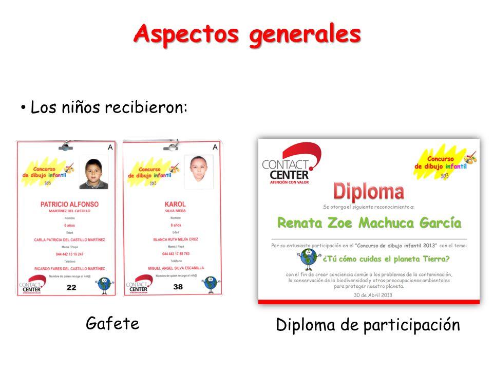 Los niños recibieron: Aspectos generales Gafete Diploma de participación