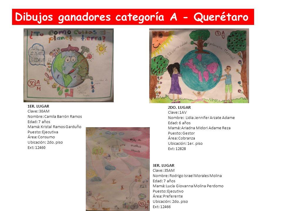 Dibujos ganadores categoría A - Querétaro 1ER. LUGAR Clave: 30AM Nombre: Camila Barrón Ramos Edad: 7 años Mamá: Kristal Ramos Garduño Puesto: Ejecutiv