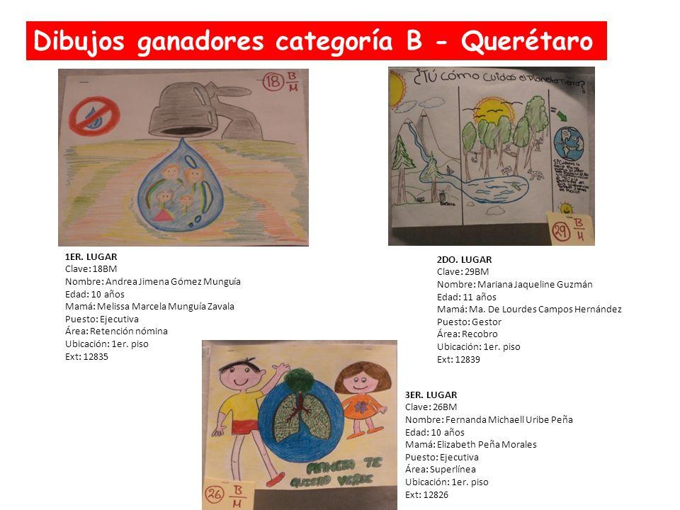 Dibujos ganadores categoría B - Querétaro 1ER. LUGAR Clave: 18BM Nombre: Andrea Jimena Gómez Munguía Edad: 10 años Mamá: Melissa Marcela Munguía Zaval