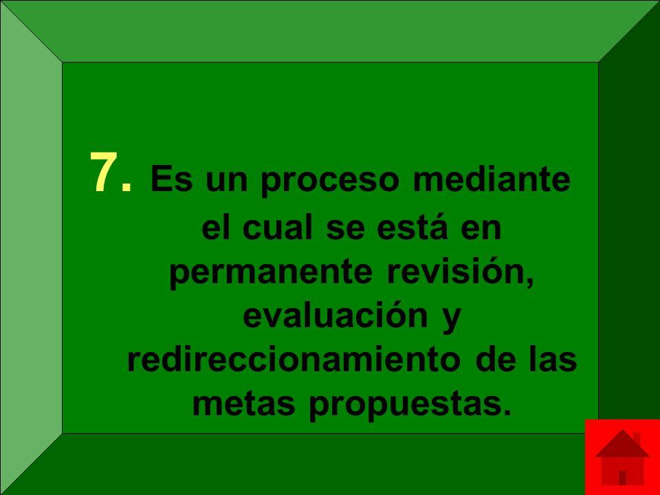 7. Es un proceso mediante el cual se está en permanente revisión, evaluación y redireccionamiento de las metas propuestas.
