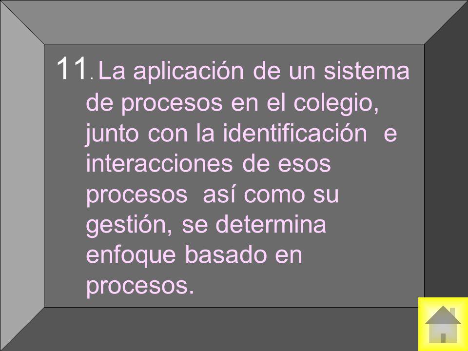 11. La aplicación de un sistema de procesos en el colegio, junto con la identificación e interacciones de esos procesos así como su gestión, se determ