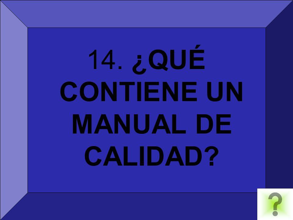 14. ¿QUÉ CONTIENE UN MANUAL DE CALIDAD?