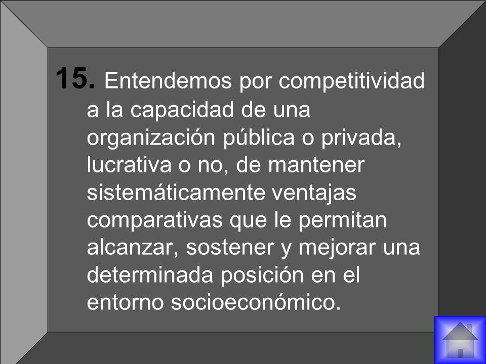 15. Entendemos por competitividad a la capacidad de una organización pública o privada, lucrativa o no, de mantener sistemáticamente ventajas comparat