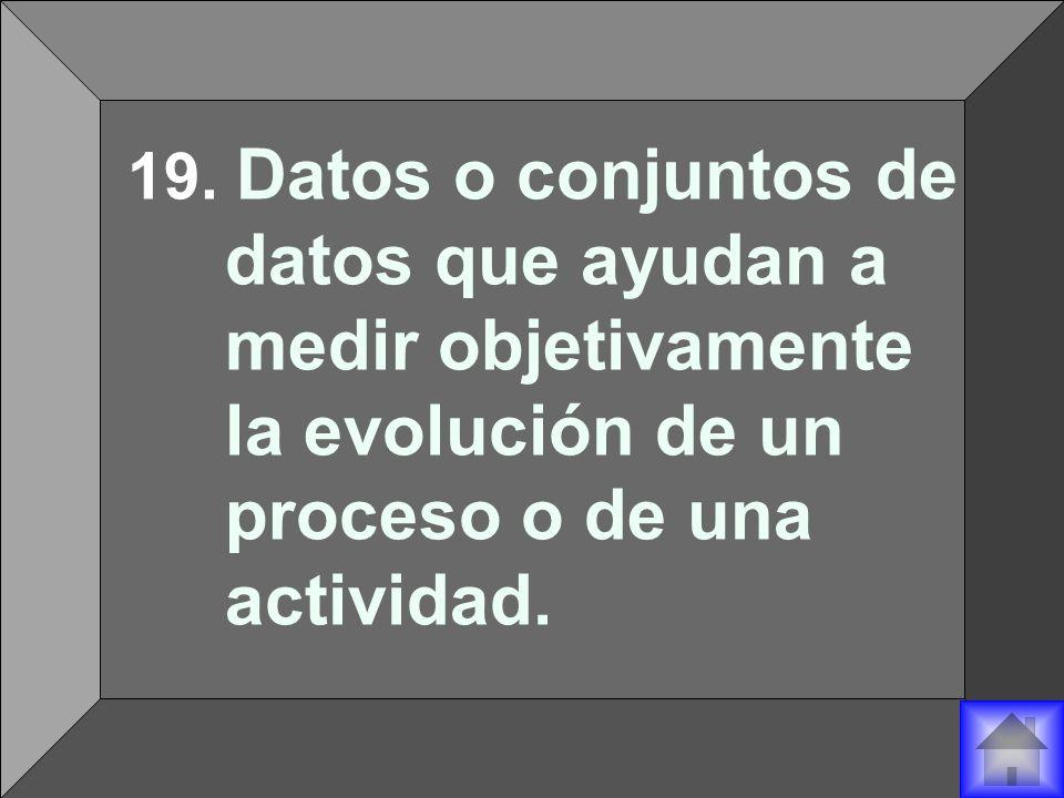 19. Datos o conjuntos de datos que ayudan a medir objetivamente la evolución de un proceso o de una actividad.