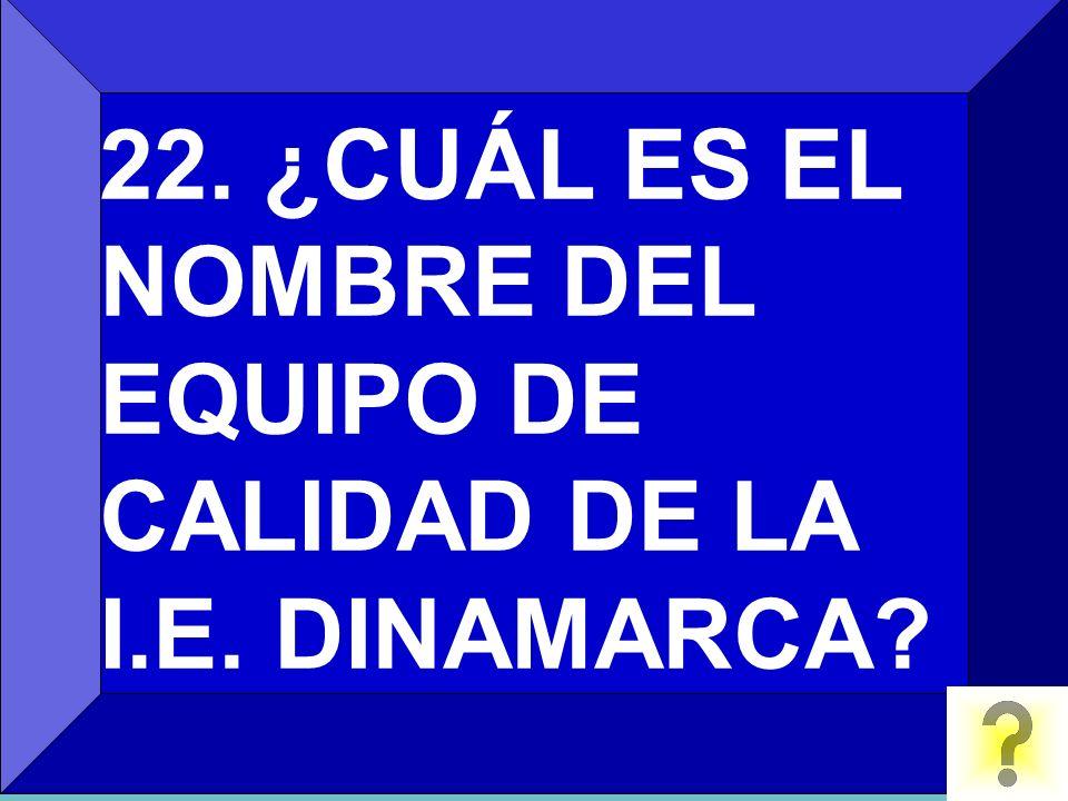 22. ¿CUÁL ES EL NOMBRE DEL EQUIPO DE CALIDAD DE LA I.E. DINAMARCA?