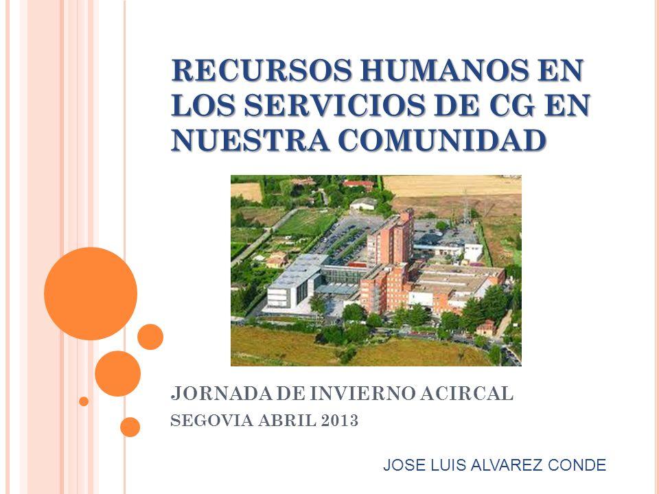 RECURSOS HUMANOS EN LOS SERVICIOS DE CG EN NUESTRA COMUNIDAD JORNADA DE INVIERNO ACIRCAL SEGOVIA ABRIL 2013 JOSE LUIS ALVAREZ CONDE