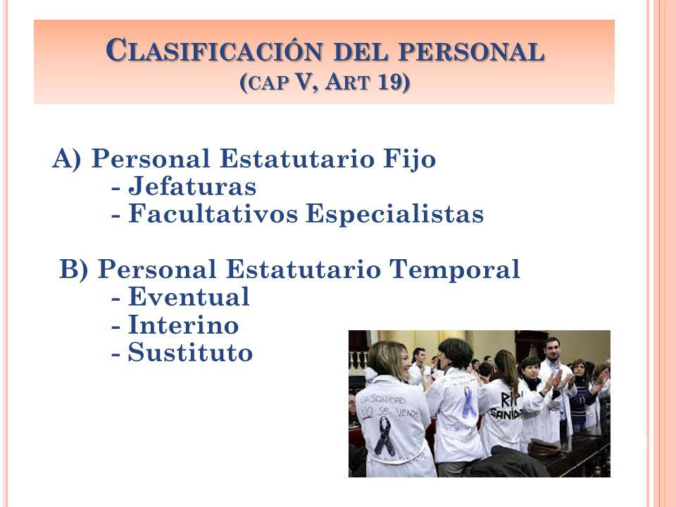 A) Personal Estatutario Fijo - Jefaturas - Facultativos Especialistas B) Personal Estatutario Temporal - Eventual - Interino - Sustituto C LASIFICACIÓ