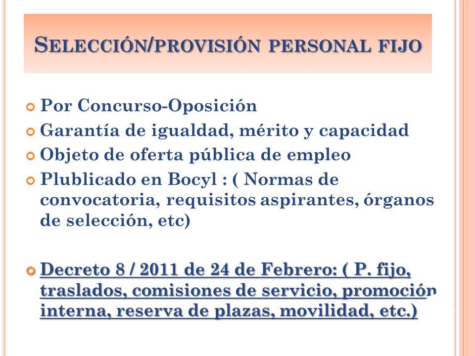 Por Concurso-Oposición Garantía de igualdad, mérito y capacidad Objeto de oferta pública de empleo Plublicado en Bocyl : ( Normas de convocatoria, req